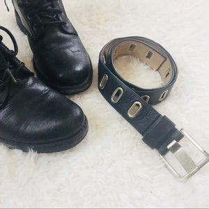 Black Genuine Italian Leather Belt Silver Hardware